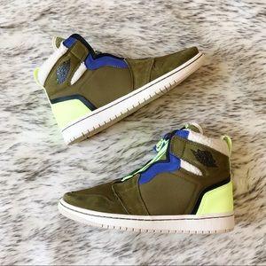 Nike Womens AirJordan 1 High ZipUp Olive Volt Glow
